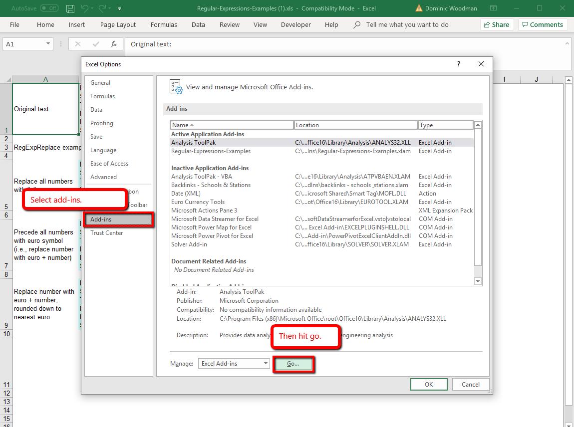 How to get regex in Excel - Hooorah! | Dom Woodman